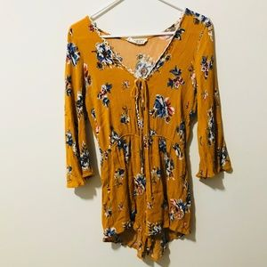 Audrey Mustard Yellow Floral Romper Blue
